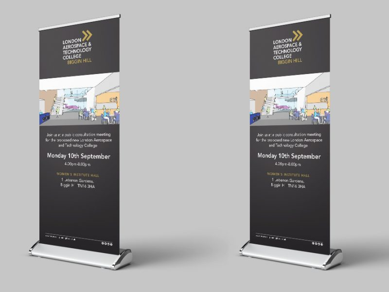 London south east colleges design on two pull up banners