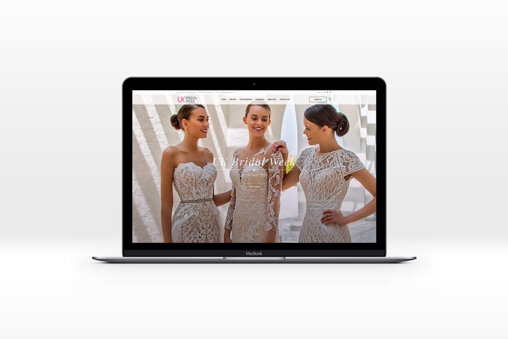 UK Bridal Week website homepage on a silver macbook