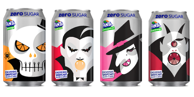 halloween marketing campaigns featuring four cans with artwork